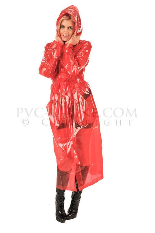 RED SEMI TRANSPARENT PVC PLASTIC HOODED RAINCOAT, MAC, SIZE XXL, PVC-U-LIKE
