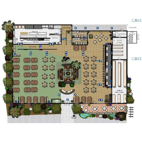 Planos de planta restaurante and pisos on pinterest for Planos de restaurantes modernos