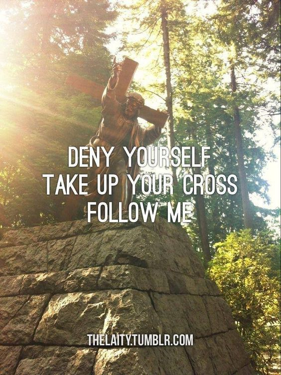 Deny Yourself. Pick Up Your Cross. Follow Me! (statue at The Grotto, Portland, Oregon)