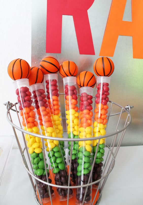 Skittles basketball party favor: