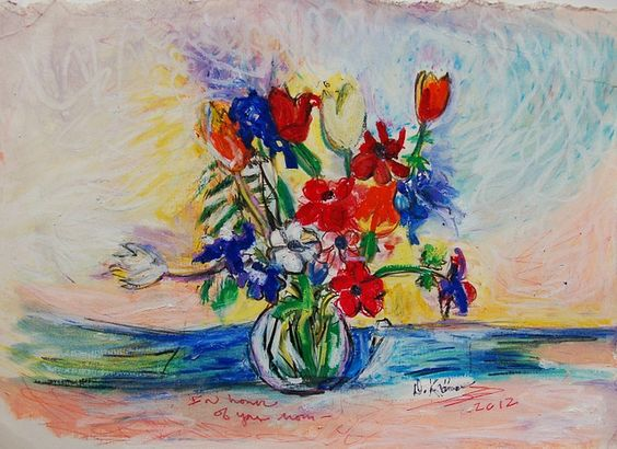 Flowers for a Friend- who has just lost her mother. May her heart remain soft and heal  .xxx diane m Kramer  aka She Wolf  oil pastels on paper    please see below under   Update- Iris also has passed away...within days of her mom's passing...  so very shoc Ally