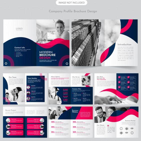 Company profile brochure design Premium Vector