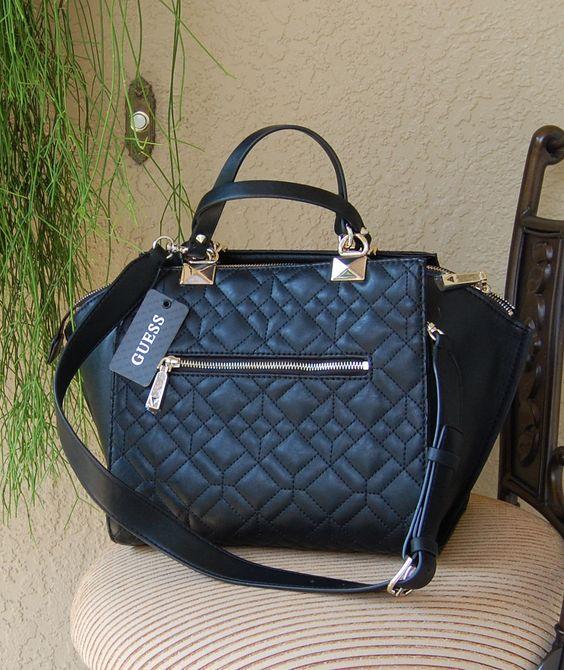 Guess Ines Satchel Handbag Purse Color Black | eBay