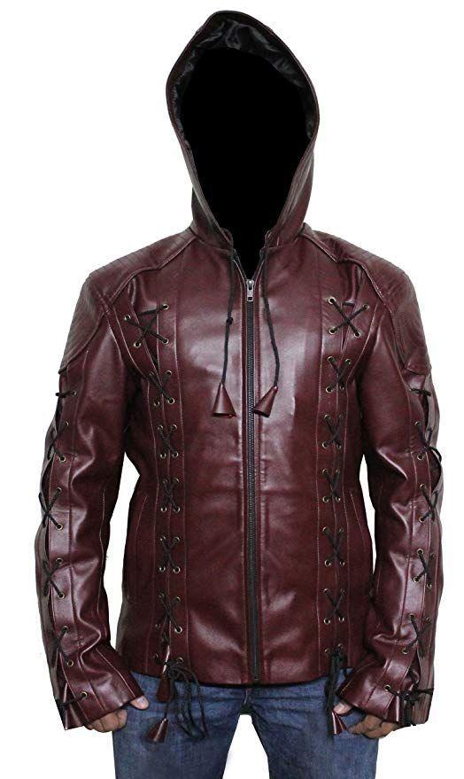 Superhero Faux Leather Jacket Figura Fashionz Stephen Amell Roy Harper Arrow Jacket in RED