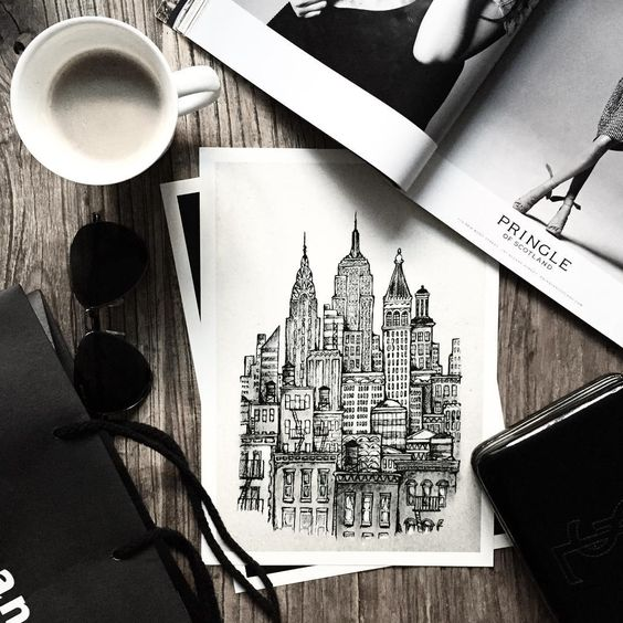 My kind of morning essentials ☕️ Drinking coffee and getting ready for another day of writing about design management  Happy Tuesday  #minimalisticmess #minimalism #travel #copenhagen #inspohome #interiorinspiration #interiørmagasinet #poster #posterstudio #newyork #drawing #manhattan #illustration #skyline #ny #art #artist #aw2015 #artwork #bobedre #boligliv #boligmagasinet #boligmagasinet #skandinaviskæstetik #danishdesign #madeindenmark