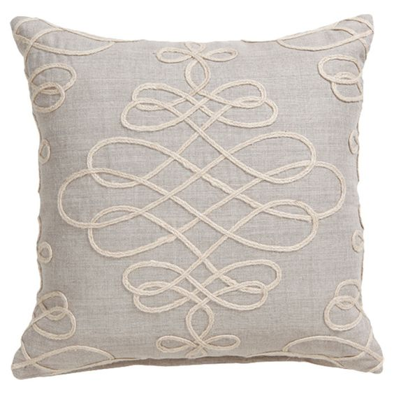 Pretty embroidered swirl pillow.