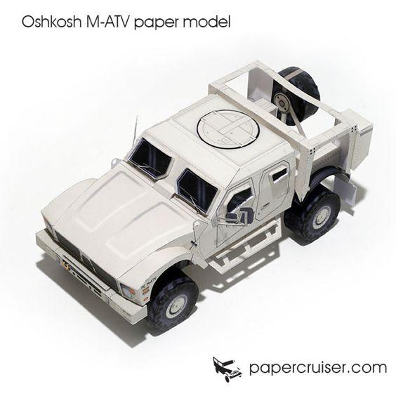 Oshkosh M-ATV military 4x4 truck paper model | http://papercruiser.com/downloads/oshkosh-m-atv-mrap-paper-model/