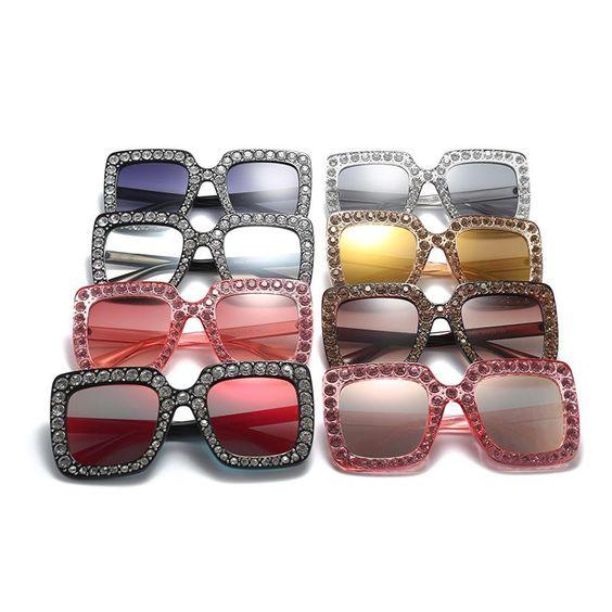 Pop Age 2018 New Women Luxury Brand Designer Crystal Square Sunglasses Mirror Retro Diamonds Sunglasses Shades 400UV