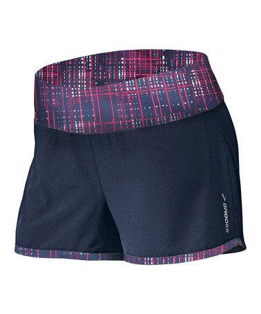 Look at this #zulilyfind! Midnight & Fuchsia Crosshatch Glycerin 2-in-1 Shorts - Women #zulilyfinds