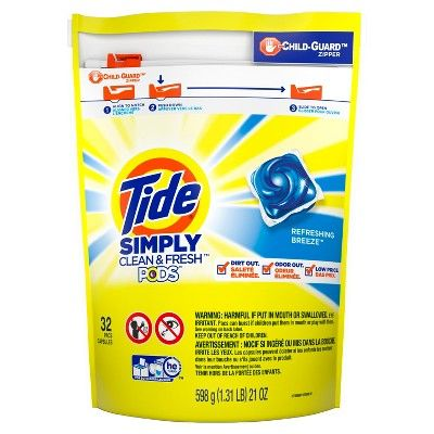 Tide Simply Sud Refreshing Breeze Laundry Detergent Pods 32ct Tide Simply Clean Tide Pods Liquid Laundry Detergent