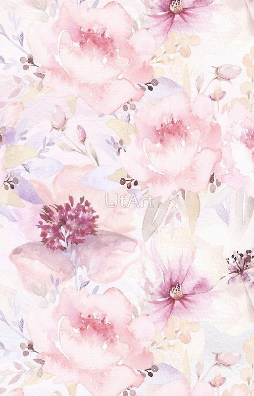 Pastel Pink Vintage Flower Pattern Beautiful Pattern I Created From Watercolor Floral Wallpaper Iphone Watercolor Floral Wallpaper Pastel Pink Wallpaper Iphone