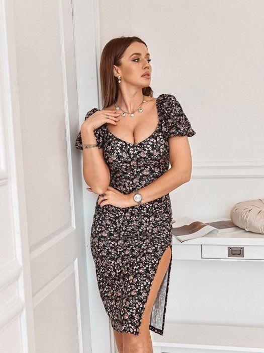 Czarna Obcisla Sukienka Z Marszczeniem Rose Premium Maxi Dress Fashion Dresses