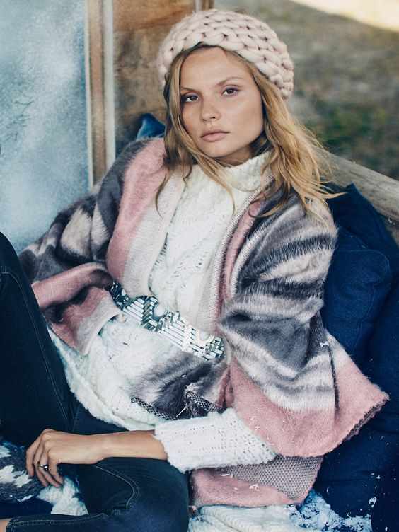 Never mind the chunky knit, I spy a tooled belt. Check. Free People AW15
