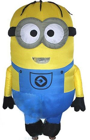 Cosplay Party Inflatable Adult Minion Costume Halloween costume for women Despicable Me Mascot boys/girls fancy dress