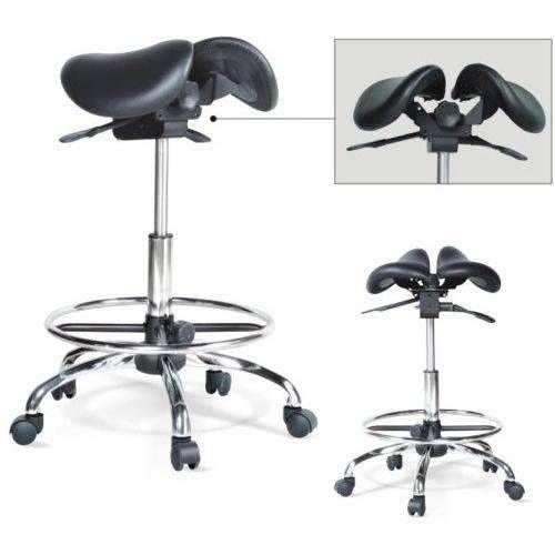 Kanewell Twin Adjustable Saddle Stool With Foot Ring Saddle Stools Saddle Chair Ergonomic Kneeling Chair