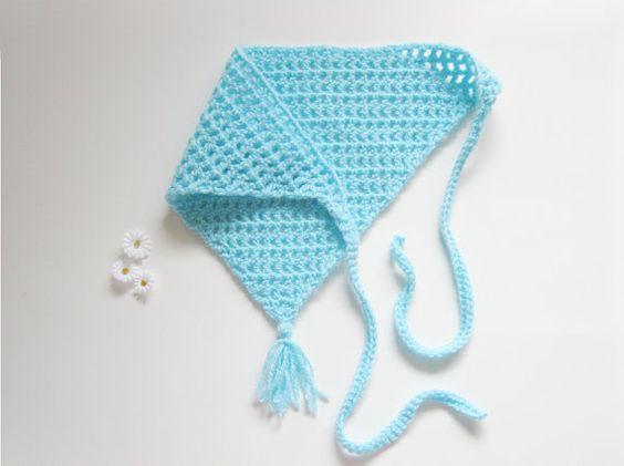 FREE SHIP Blue Crochet Womens Hair Kerchief