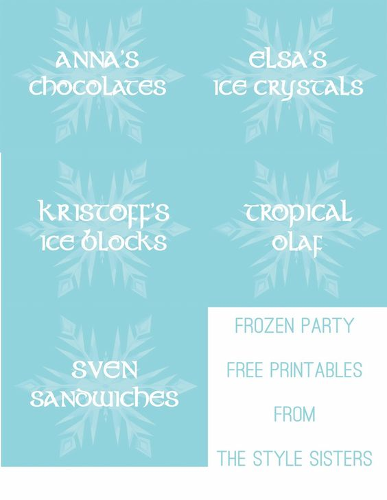 Disney's Frozen party Food Labels Free Printables | The Style Sisters