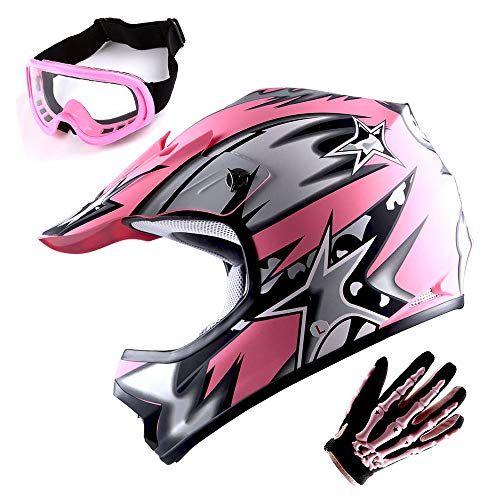 Wow Youth Motocross Helmet Bmx Mx Atv Dirt Bike Helmet Matt Star Pink Goggles Skeleton Pink Glove Bundle Car Accessories Online Market In 2020 Bmx Helmets Motocross Helmets Dirt Bike Helmets