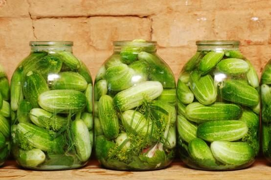 Jars with dill pickles