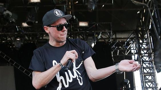 New way to roll ...MC Suffa of the Hilltop Hoods on stage during the Future Music Festiva