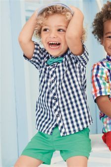 Navy Short Sleeve Gingham Shirt And Bow Tie Set (3 Monate – 6 Jahre)
