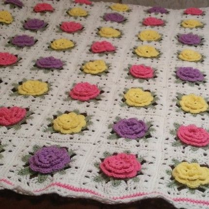 Free Crochet Rose Blanket Pattern : Crochet roses, Granny square afghan and Granny squares on ...