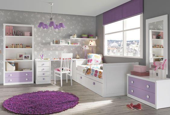 Dormitorio juvenil de madera con cama nido con cajones. Más info en www.tudecora.com