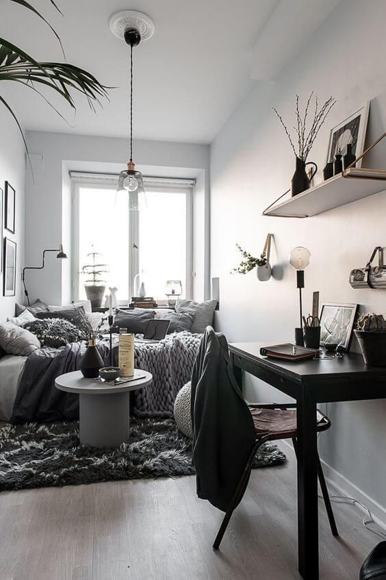 60 Awesome Bedroom Ideas For Small Spaces Sharp Aspirant In 2020 Small Apartment Interior Interior Design Apartment Small Apartment Living Room Layout