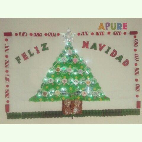 Mi cartelera navide a realizada con material de desecho - Adornos de navidad con material de desecho ...