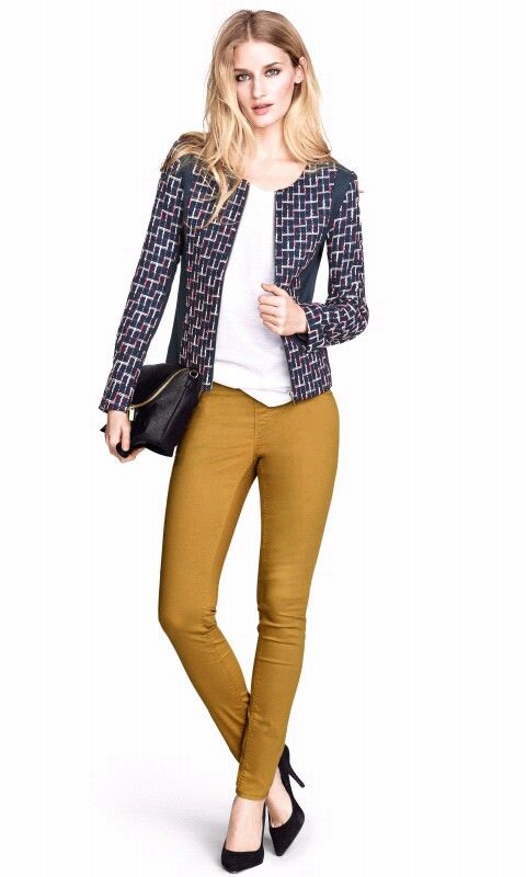 Pantalones H&M mostaza y denim