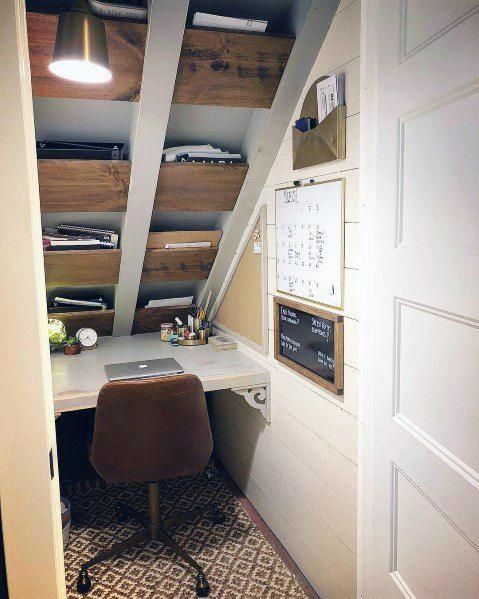 Top 40 Best Closet Office Ideas Small Work Space Designs Home Office Closet Small Workspace Closet Under Stairs