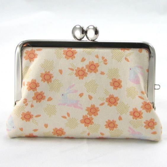 Card Case - Japanese Sakura Bunny on Ivory