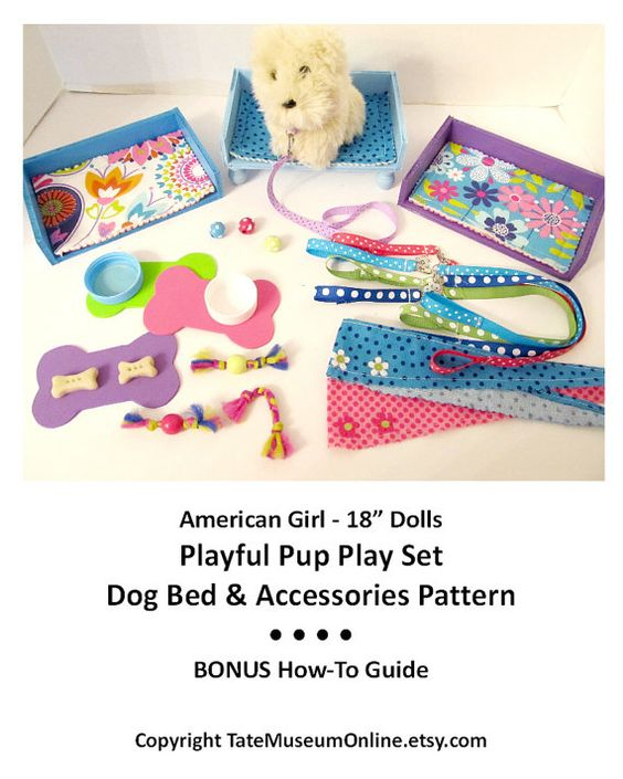 American Girl 18 inch Doll House Playful Pup Play Set Pattern with Dog Bed & LOTS of Accessories by TateMuseumOnline, $6.99