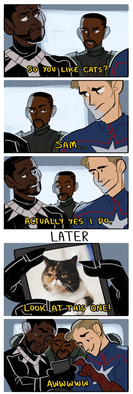 Black Panther, Falcon, and Captain America Discussing Cats! XD Hahaha!!! - Captain America: Civil War #T'Challa #SamWilson #SteveRogers