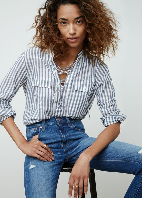 madewell terrace lace-up shirt.: