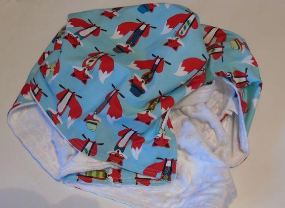 Fox Minky Blanket, Woodland Nursery, Minky Baby Blanket, Aqua Baby Blanket, Fox Blanket by FabricWorksByTaylor on Etsy