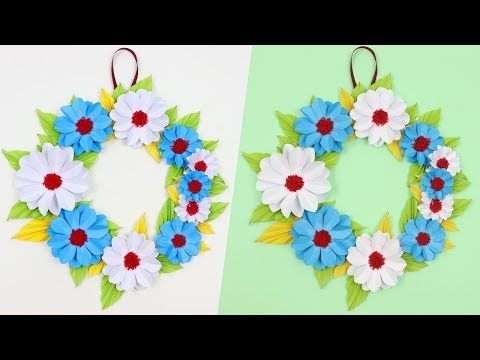 How To Make Easy Beautiful Paper Flower Wall Hanging Idea Diy