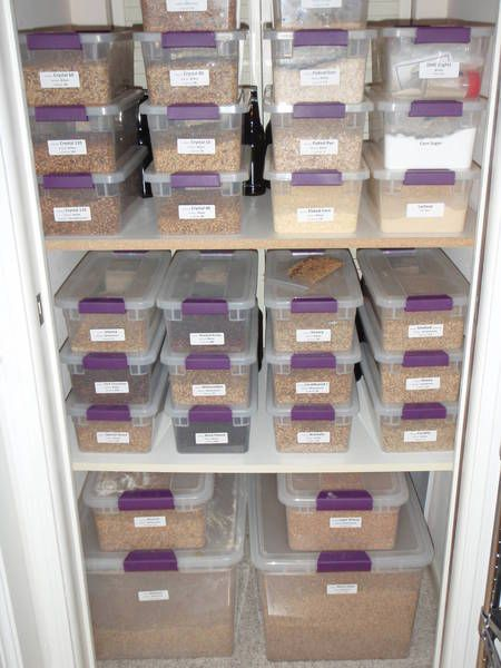 Organized home brew - grain storage containers