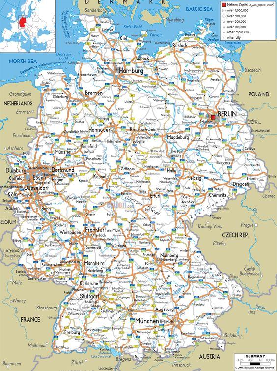 Germany Map Road Map of Germany BavariaN rnberg – Lichtenstein Germany Map