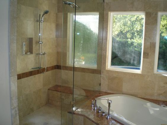Stand Up Shower Corner Bathtub I Like The Clear Glass Wall Doo