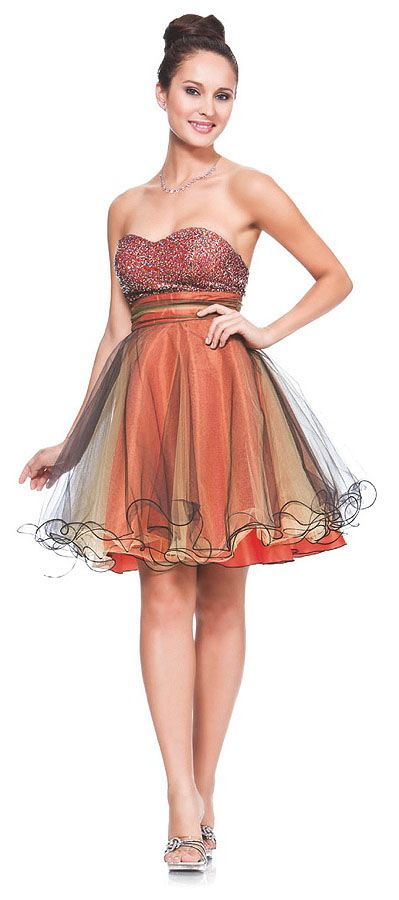 Strapless dress in orange and other colors.  {The designers went so cheap on this, that the waist band is just under the bra line, or dangling below the waist, depending on your figure type.}: