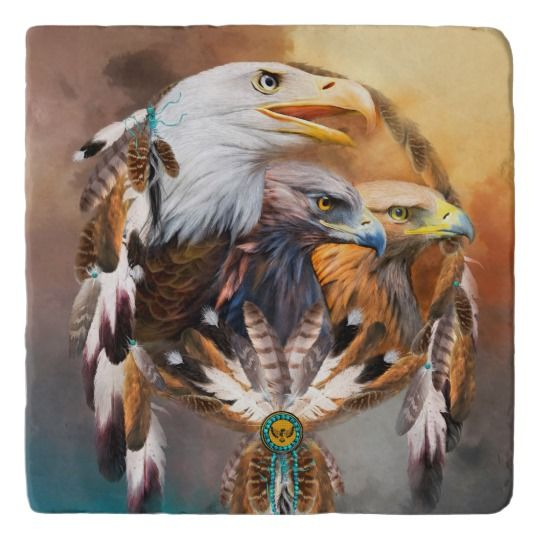 DREAMCATCHER WITH A PICTURE OF 3 EAGLES EAGLE INDIAN LARGE