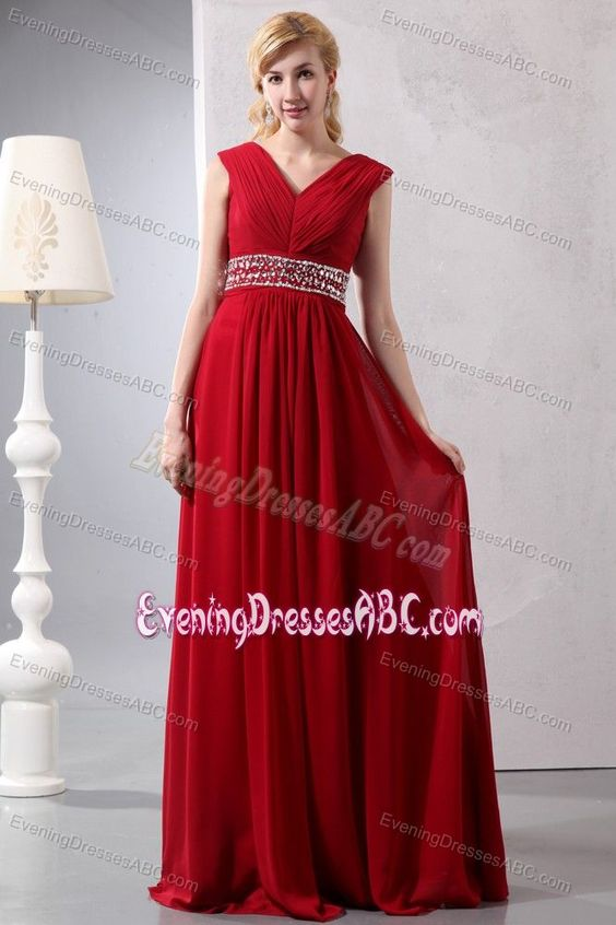 Wine Red V-neck Long Chiffon Plus Size Evening Dresses