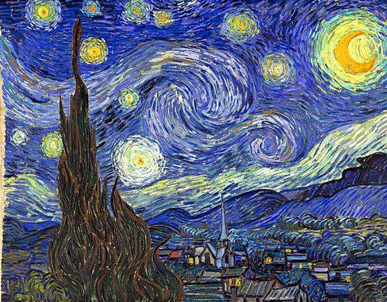 LA NOCHE ESTRELLADA. de Vincent VAN GOGH. 1889. MOMA de New York. 73,7cm x 92,1cm.  El pintor se encuentra recluido en el manicomio de Saint-Rémy  y muestra lo que contempla desde su ventana: una noche de estrellas con un trazo espiral  y cipreses de primer plano. Al fondo, la silueta de un pueblo con la larga aguja de la torre de la iglesia. Los   contornos están marcadas con gruesos trazos de tonos oscuros. Estos son comunes a todas las obras de este momento: malvas, morados y amarillos.