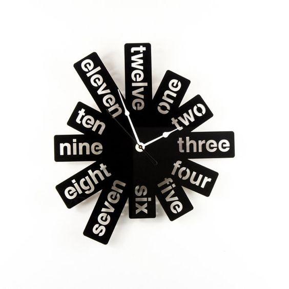 Large Wall Clock Laser Cut Acrylic Black Clock Modern