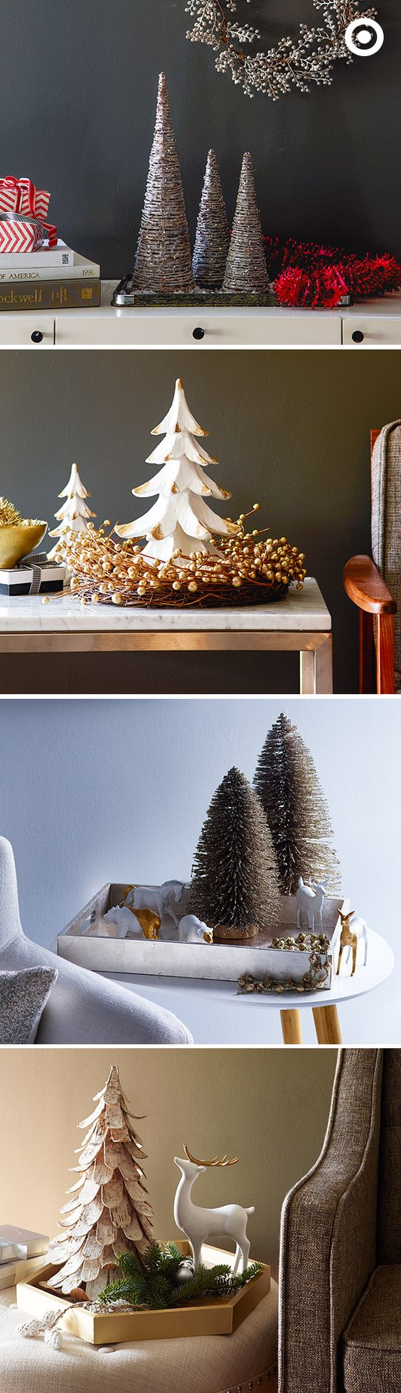 Who says you need a full-sized Christmas tree to get your home ready for the holidays? Whether you're feeling modern, traditional or somewhere in between, a mini tree and some festive décor are all it takes to create an entire holiday scene on a tray.