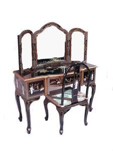 Black Lacquered With Mother Of Pearl Oriental Furniture Dressing Table. |  EBay
