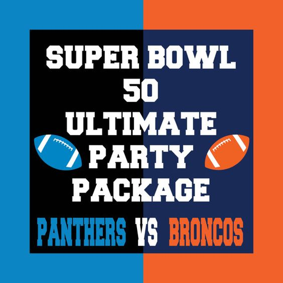 The Ultimate Super Bowl 50 Party Package  - Includes Photo Booth Props, Party Decorations and Banners for both the Carolina Panthers and Denver Broncos: