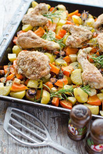 Würziges Hähnchen mit Ofengemüse