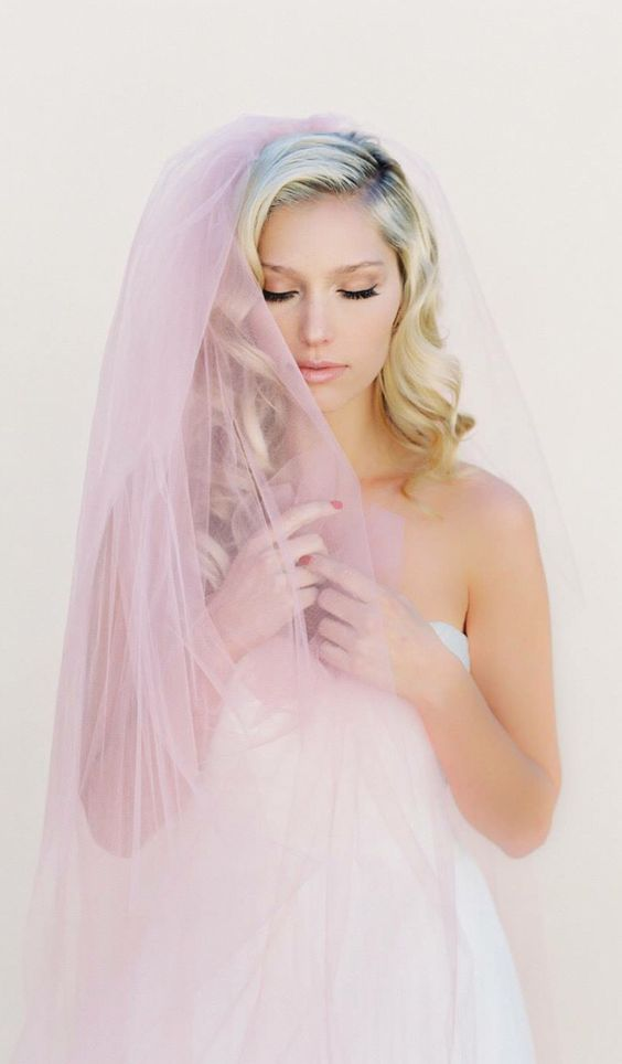 Blush Veil, Simple Wedding Veil, Single Layer Bridal Veil, Blusher Veil, Tulle… More
